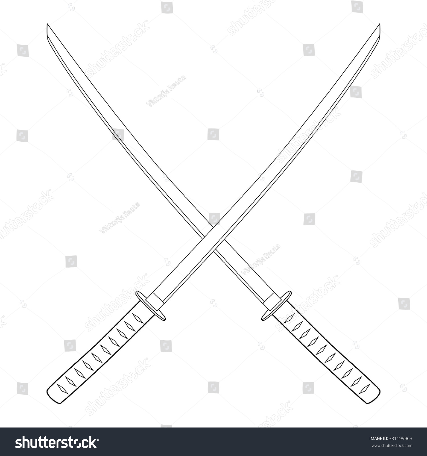 Vector Illustration Crossed Japanese Katana Swords Stock ...