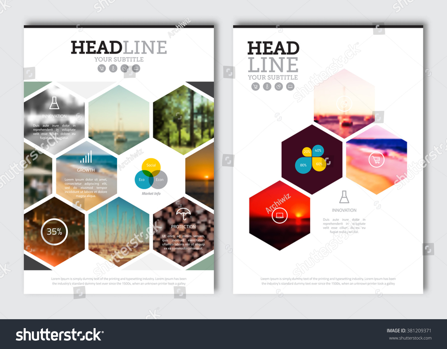 Poster design elements - Business Brochure Design Template Vector Flyer Layout Blur Background With Elements For Magazine