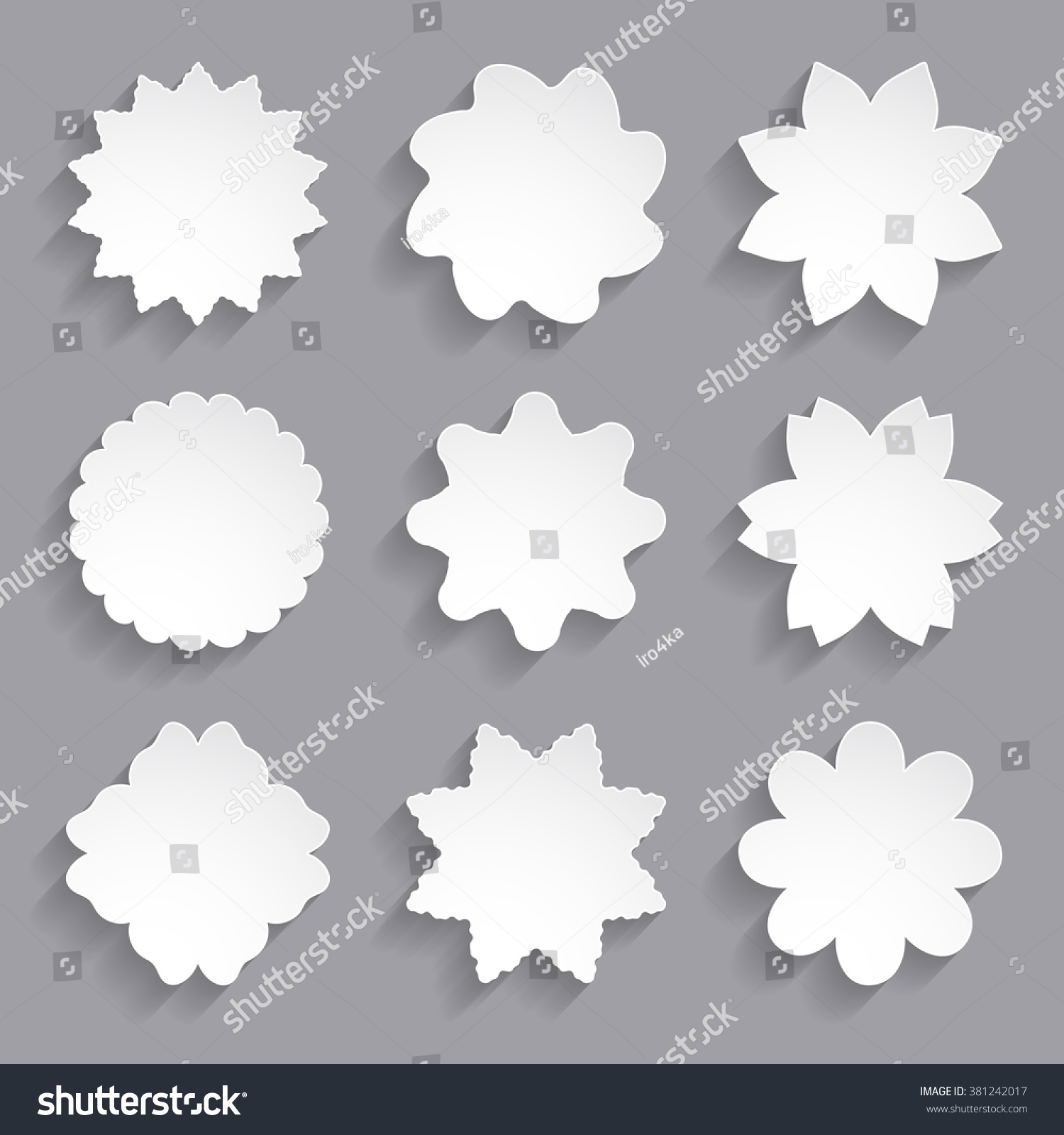Set White Paper Flower Shapes Stock Vector Royalty Free 381242017