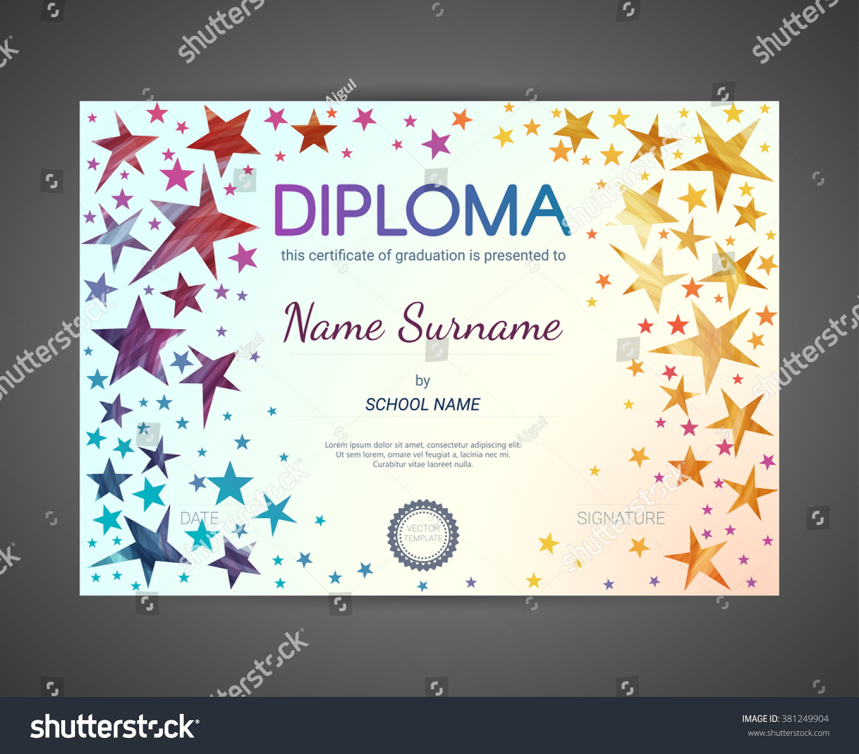 Kids diploma certificate design template preschool stock vector kids diploma certificate design template preschool elementary school diploma vector template alramifo Images