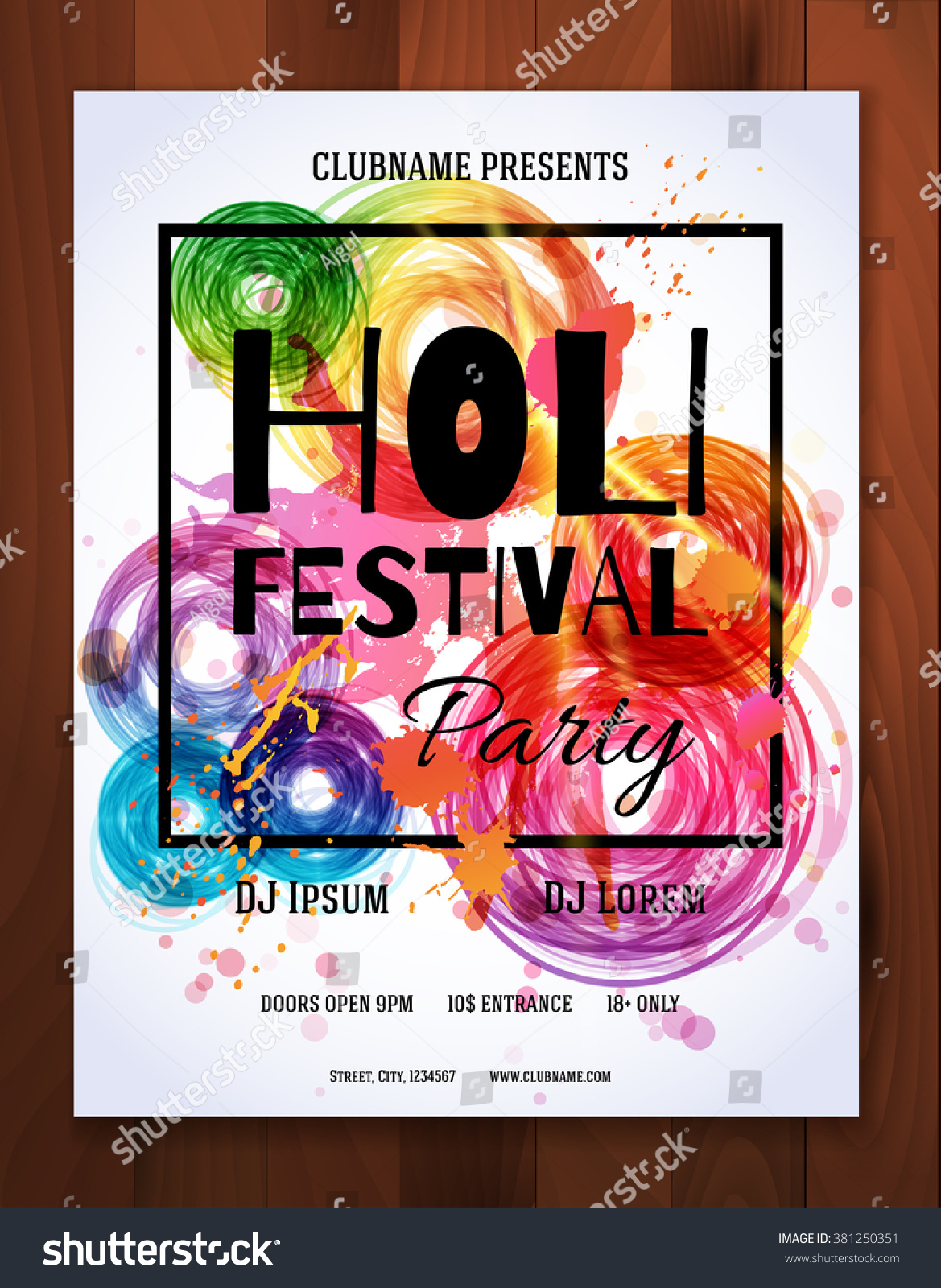 Happy Holi Festival Creative Flyer Banner Stock Vector 381250351 ...