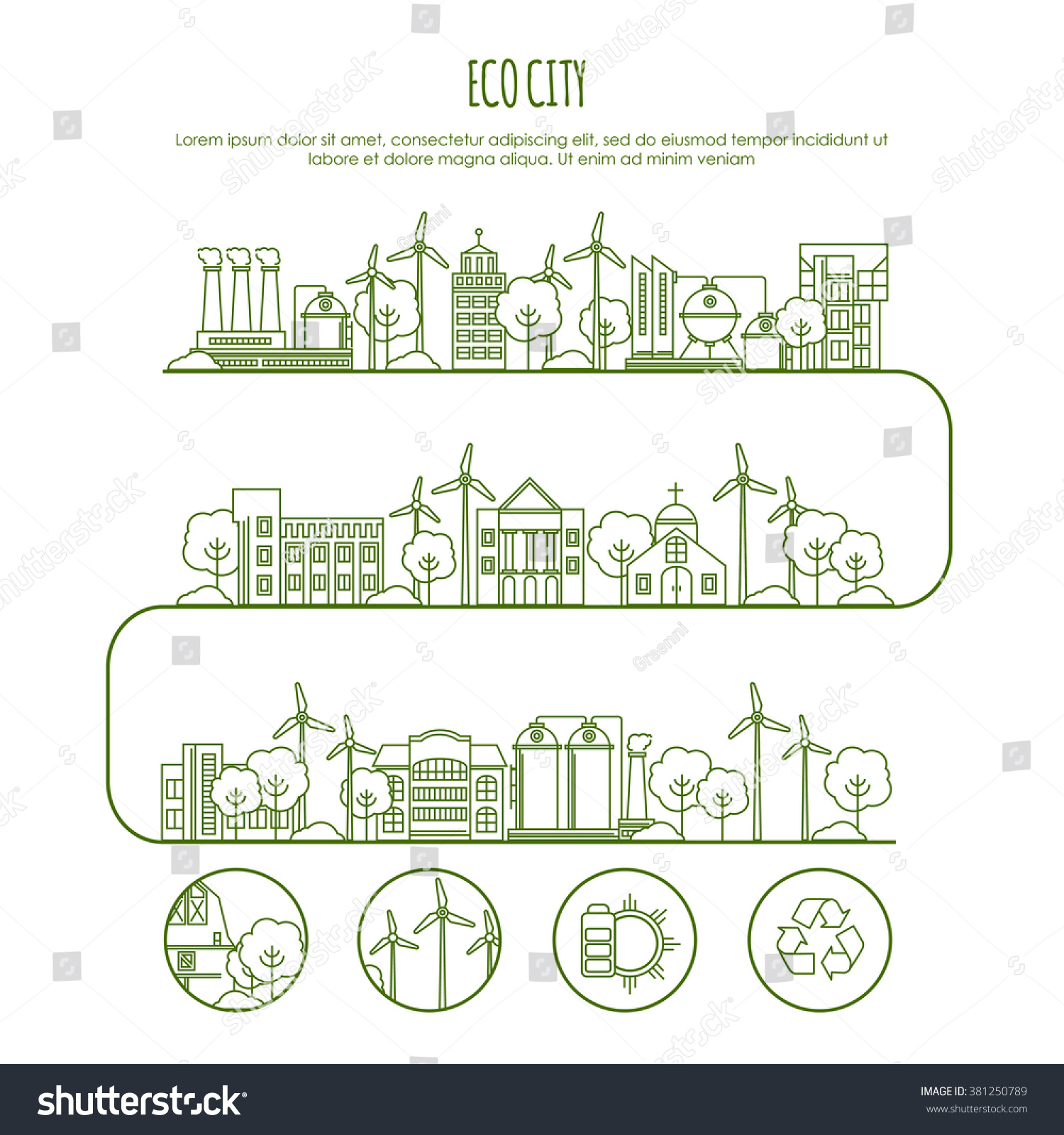ecology city infographic template thin line stock vector royalty