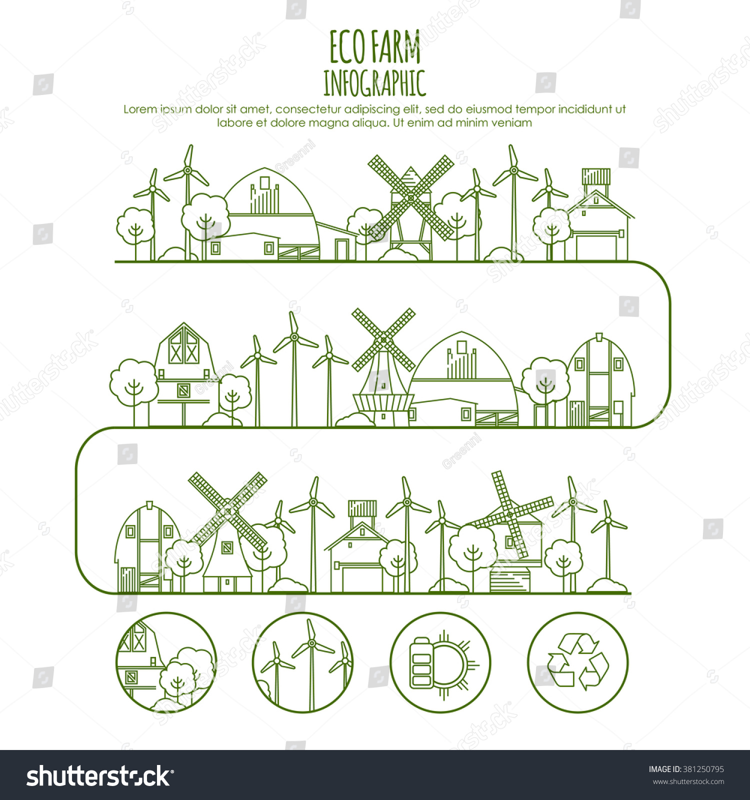 ecology farm infographic template thin line stock vector royalty