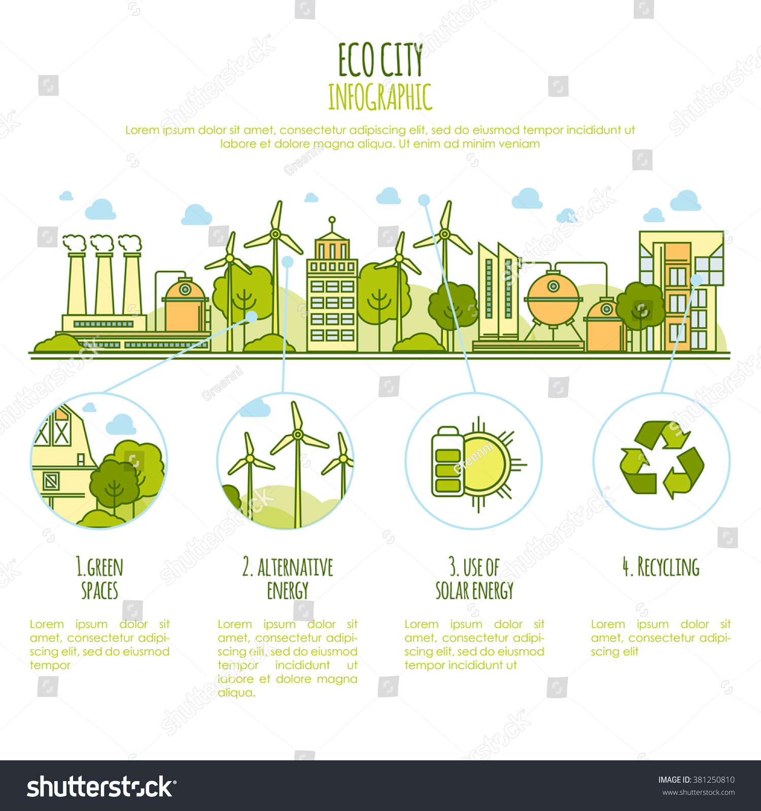 ecology city infographic vector template thin stock vector