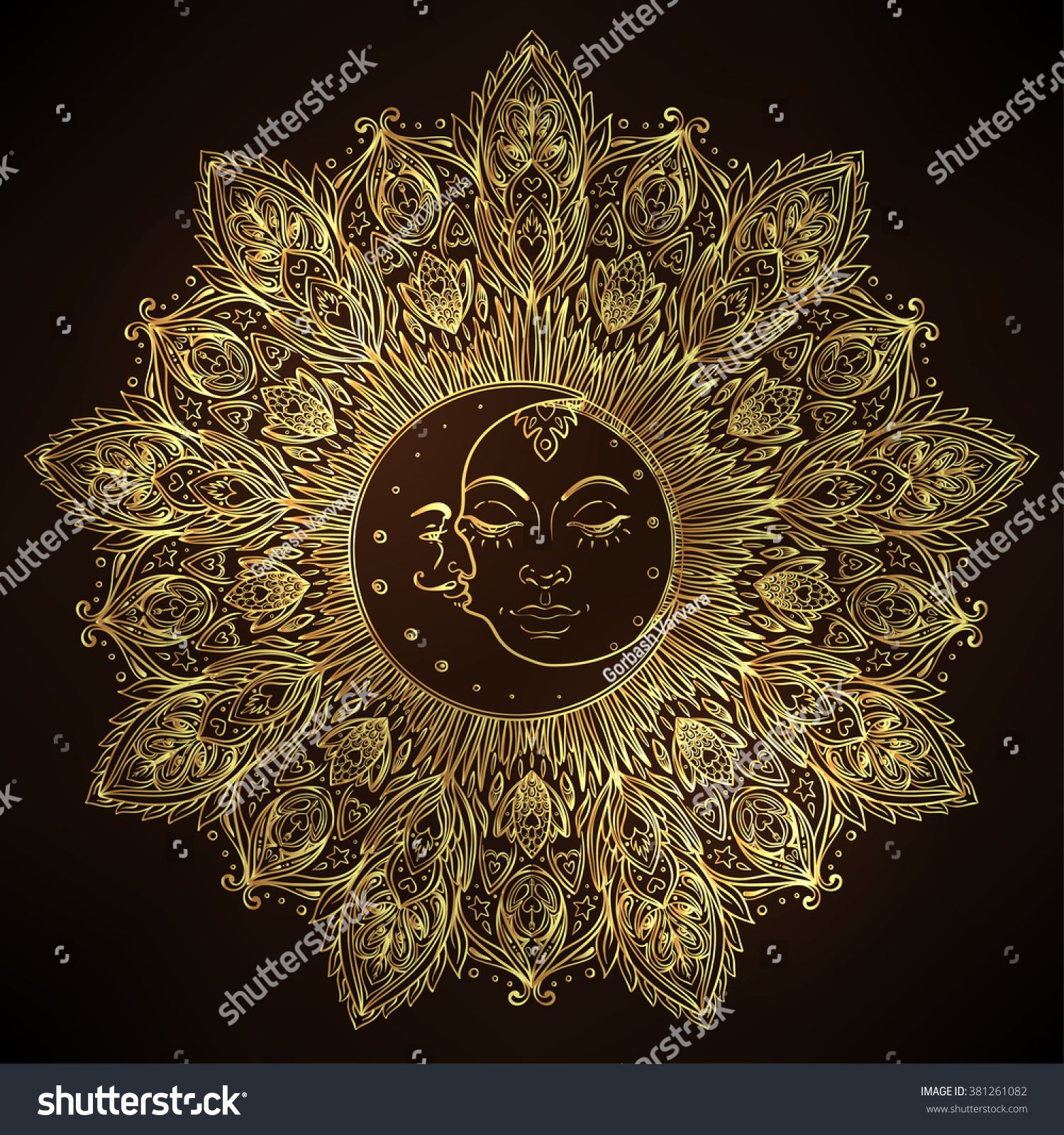 Sun moon symbols face inside ornate stock vector 381261082 sun moon symbols as a face inside ornate mandala round pattern vintage decorative vector biocorpaavc Images