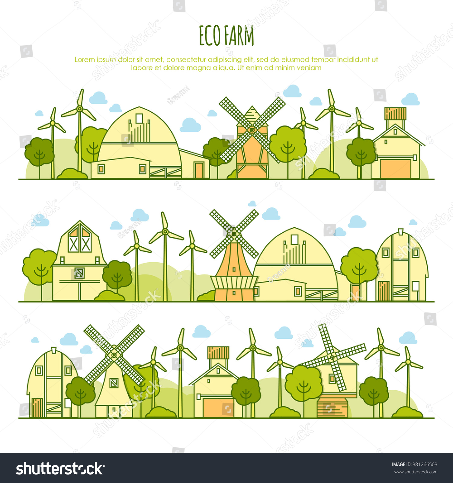 ecology farm landscapes vector template thin stock vector royalty