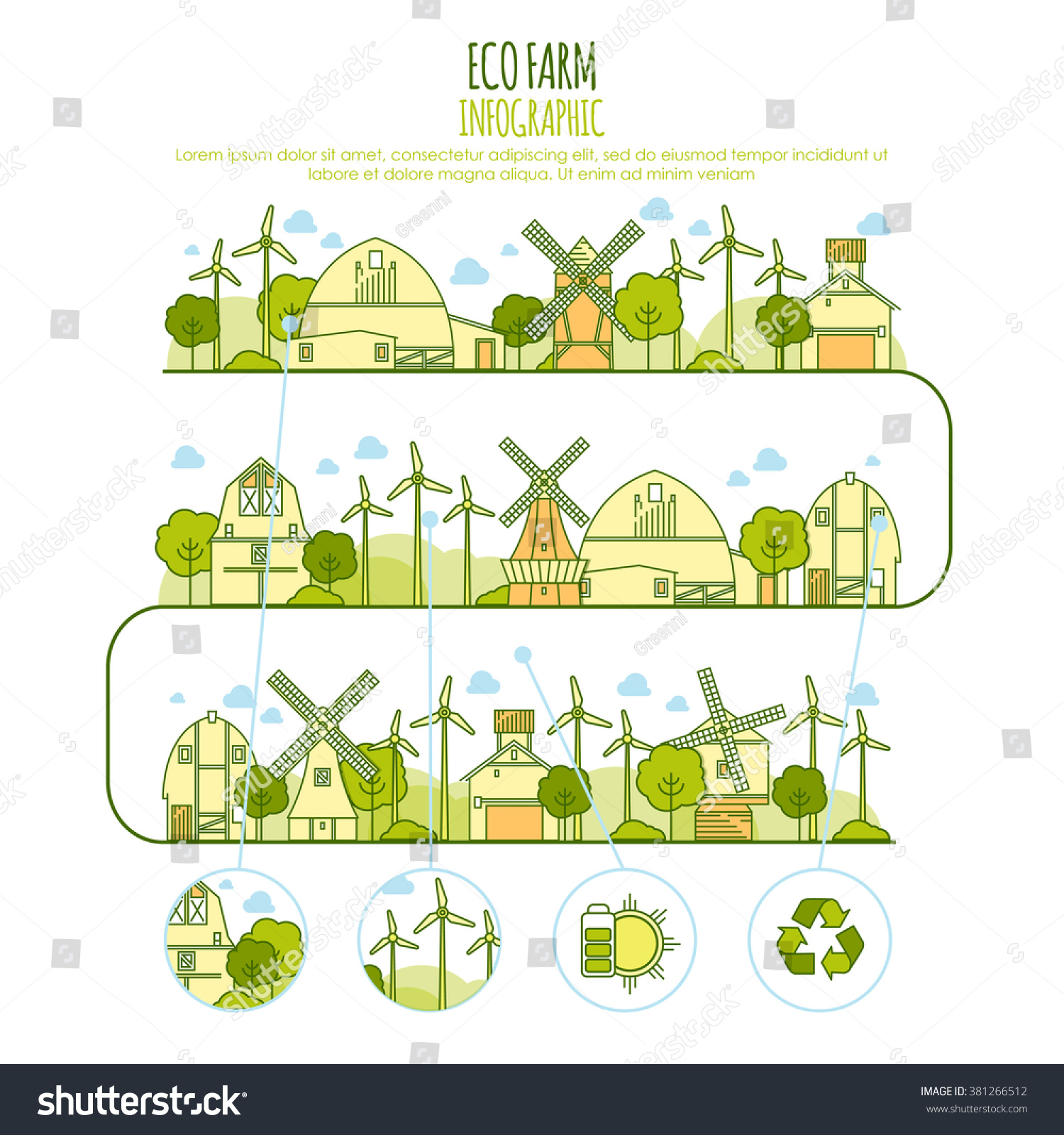 ecology farm infographic vector template with thin line icons of eco