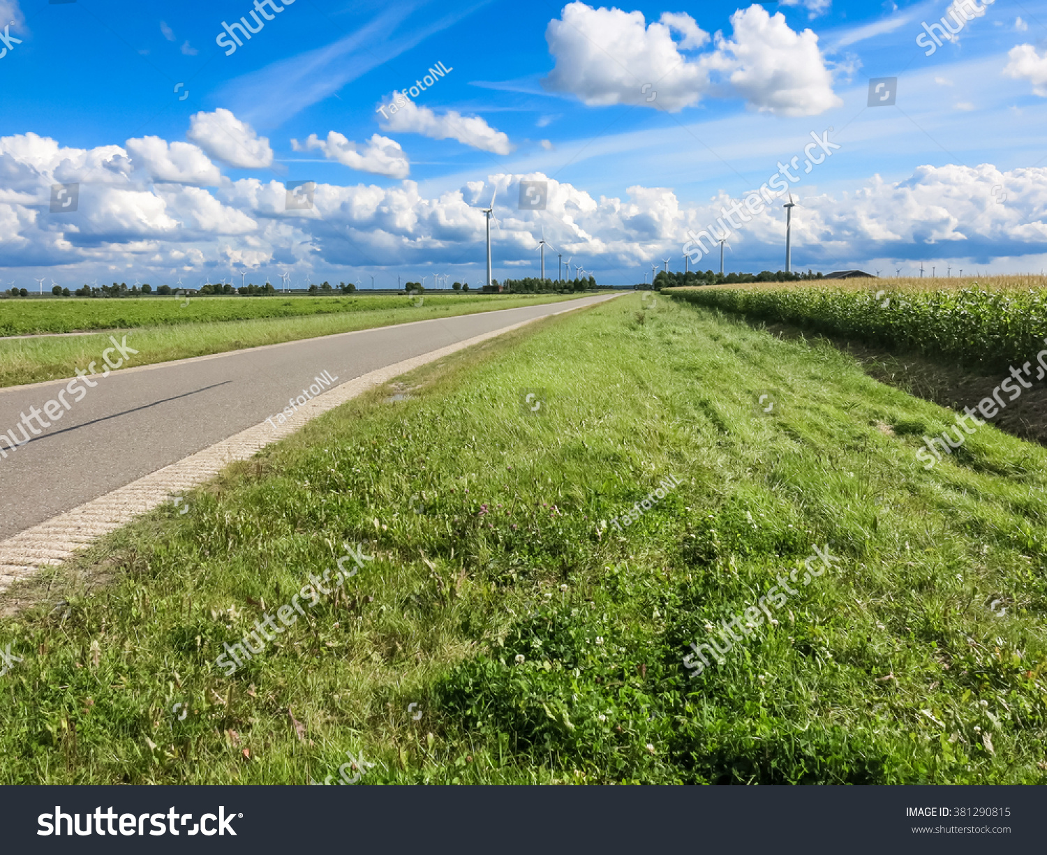 Country Road Farmland And Wind Turbines In