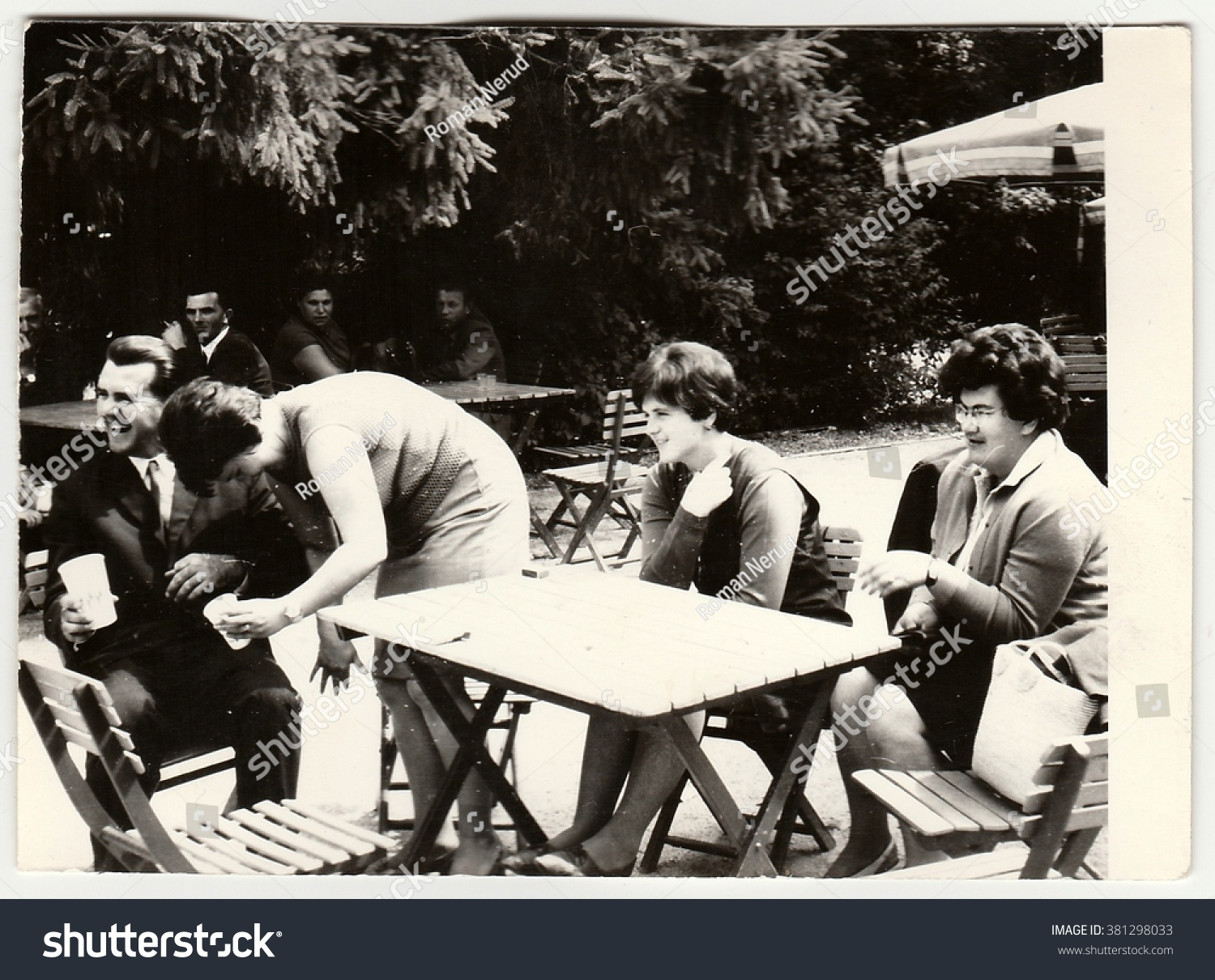 THE CZECHOSLOVAK SOCIALIST REPUBLIC - CIRCA 1960s: Vintage photo shows  group of people sit at