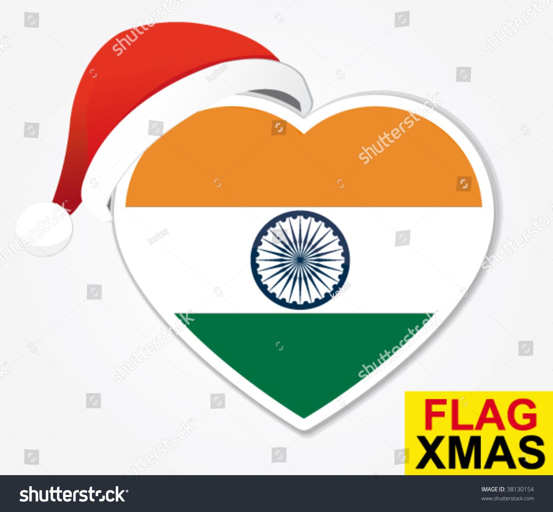 India Christmas Heart Flag Stock Vector (Royalty Free) 38130154 ...