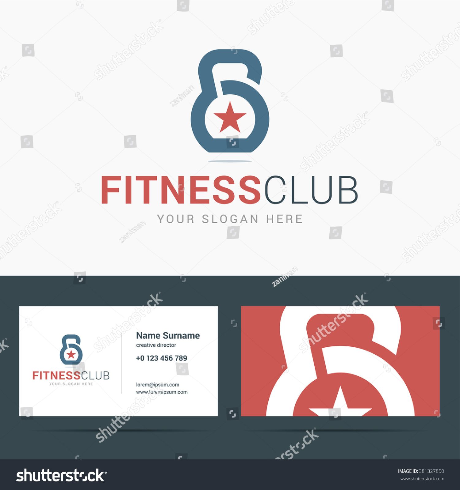 Logo Business Card Template Fitness Club Stock Vector