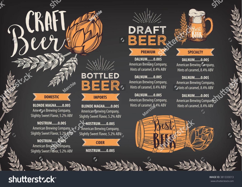 Beer restaurant brochure vector alcohol menu stock