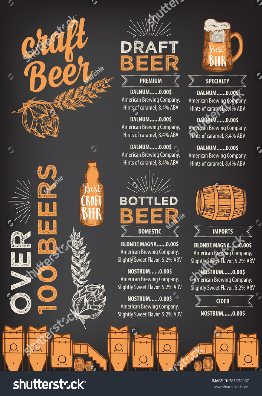 Beer Restaurant Brochure Vector Alcohol Menu Vector – Beer Menu