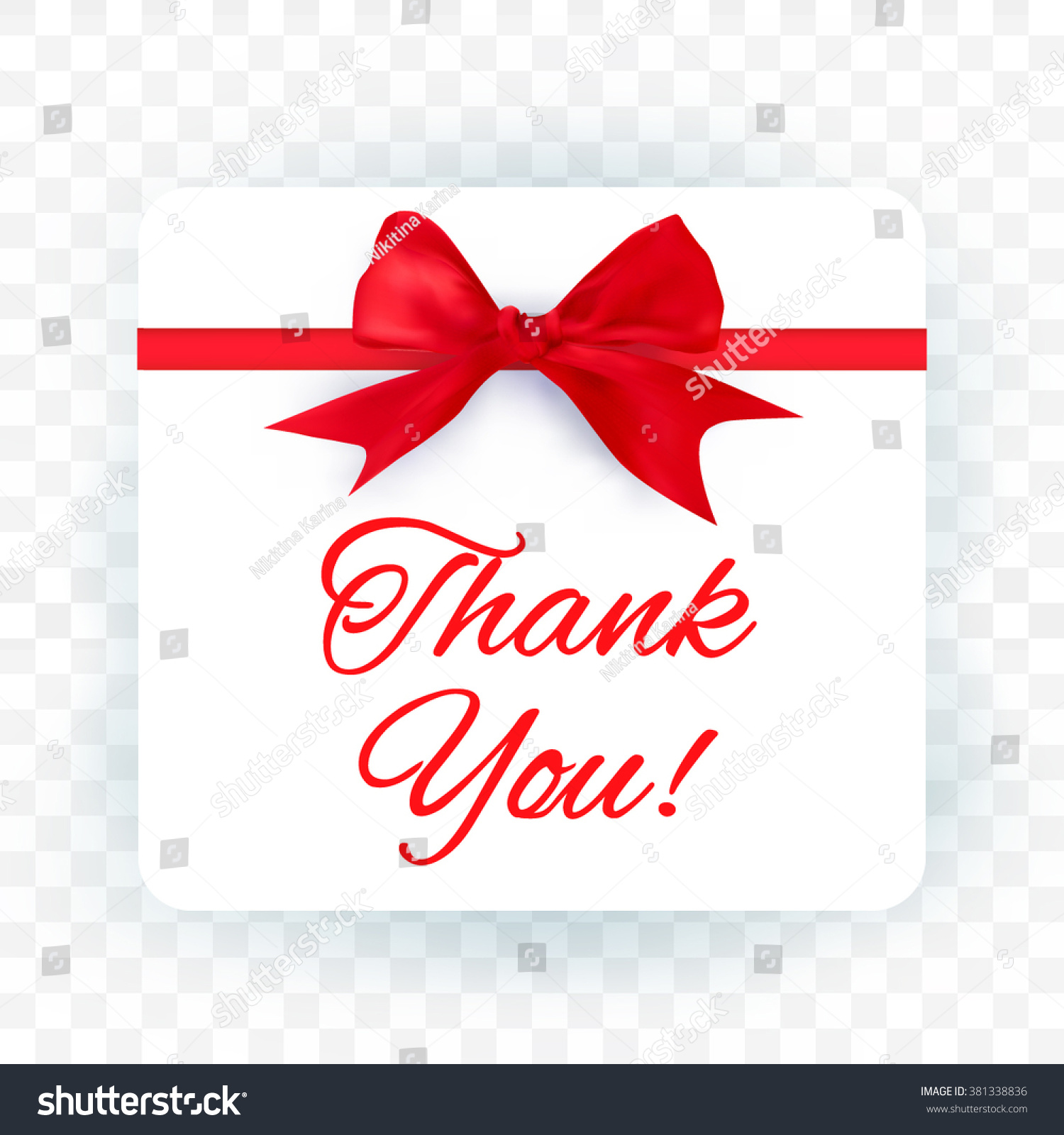 Thank you card realistic red bow stock vector 381338836 shutterstock thank you card with realistic red bow on transparent background kristyandbryce Choice Image