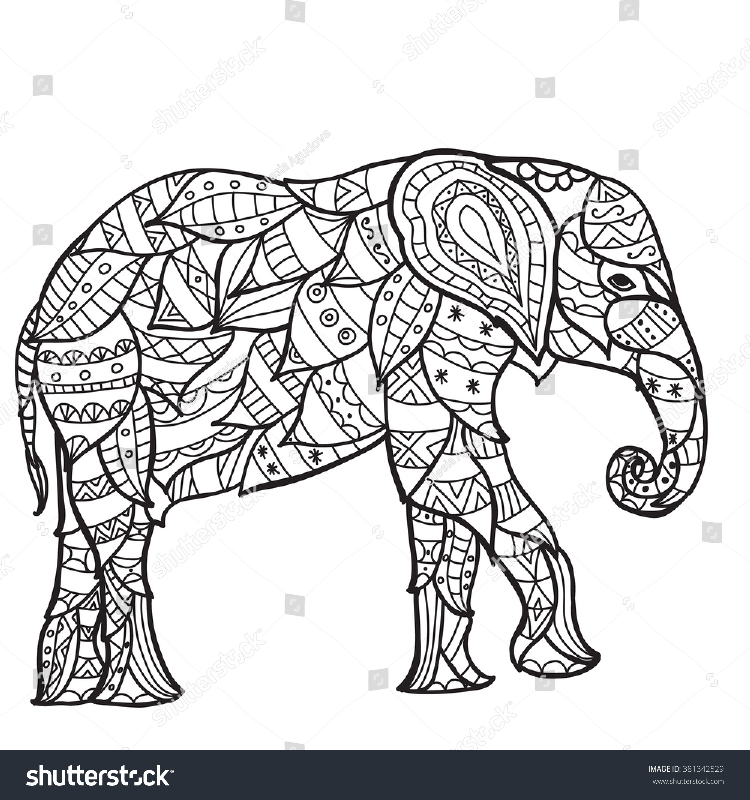 Elephant Antistress Coloring Book Adults Black Stock Vector HD ...