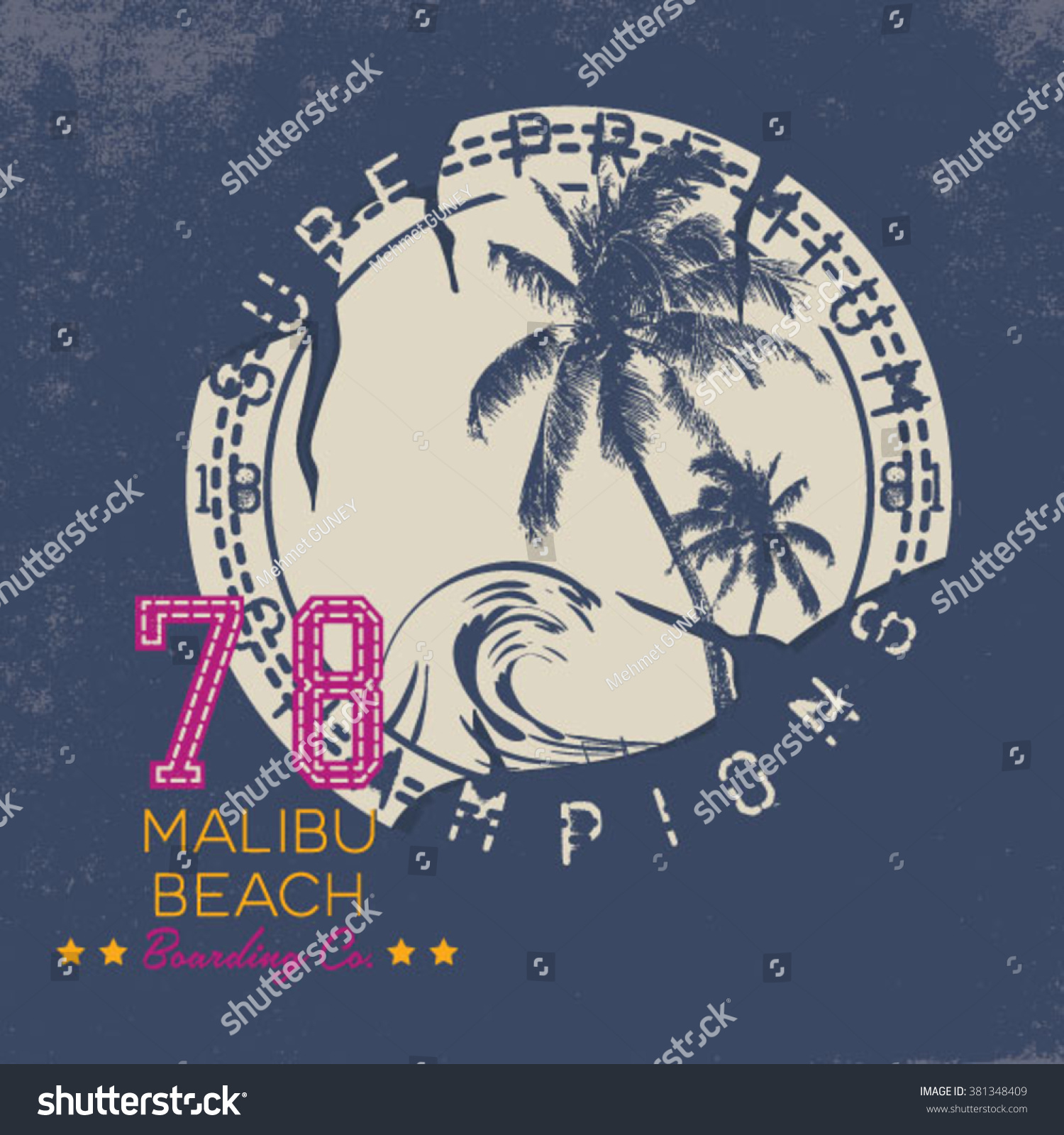 Surf Illustration t-shirt graphics vectors typography pacific surf wave summer tropical heat print surf print vector set wave illustration