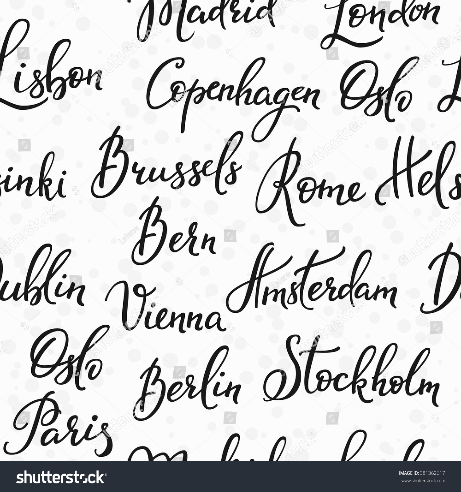 Lettering seamless pattern europe capitals names image