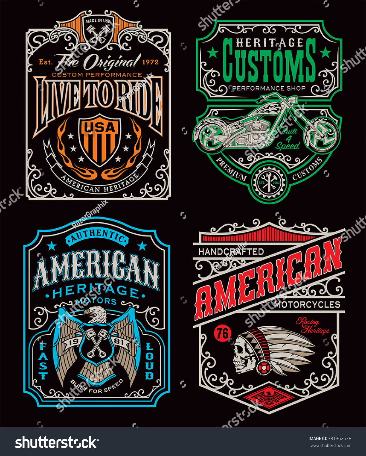 Vintage Motorcycle Tshirt Graphic Set Stock Vector