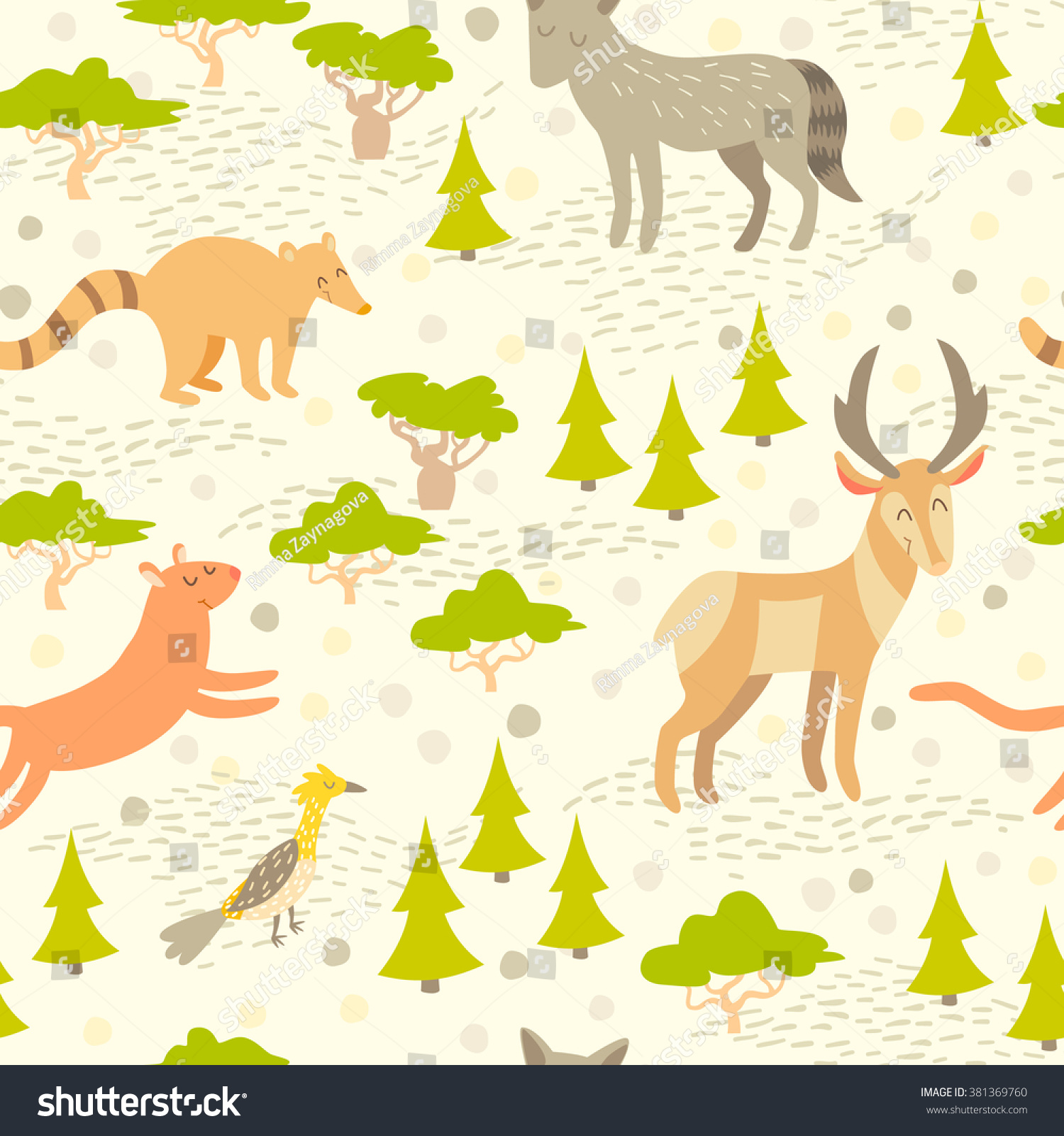 north american cute animals seamless pattern stock vector