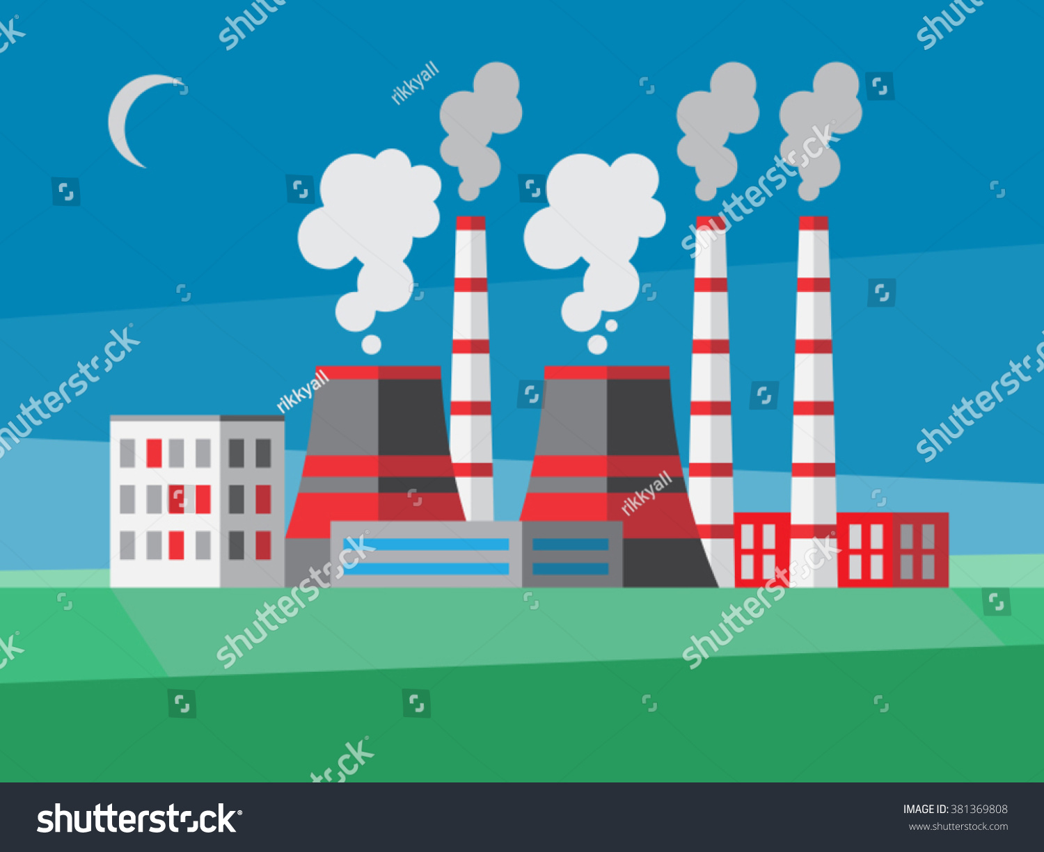 Power Plant Illustration Flat Style Stock Vector Royalty Free 381369808
