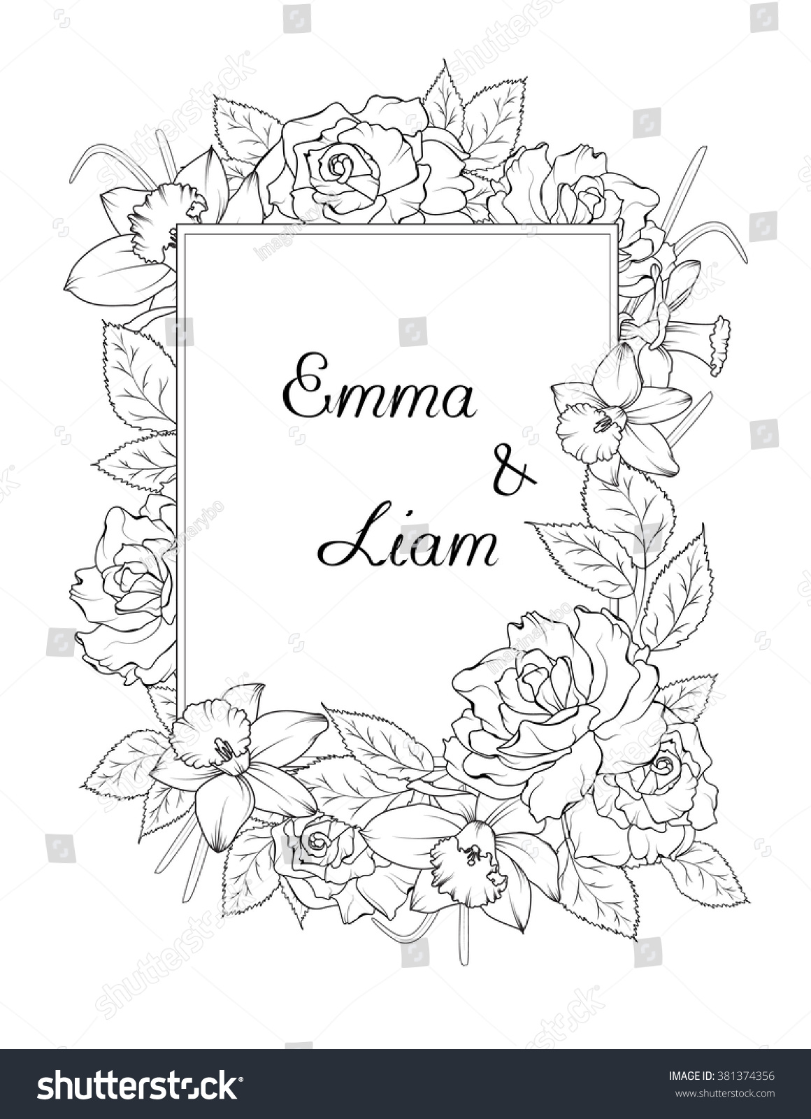 Wedding Invitation Template Spring Flowers Frame Stock ...