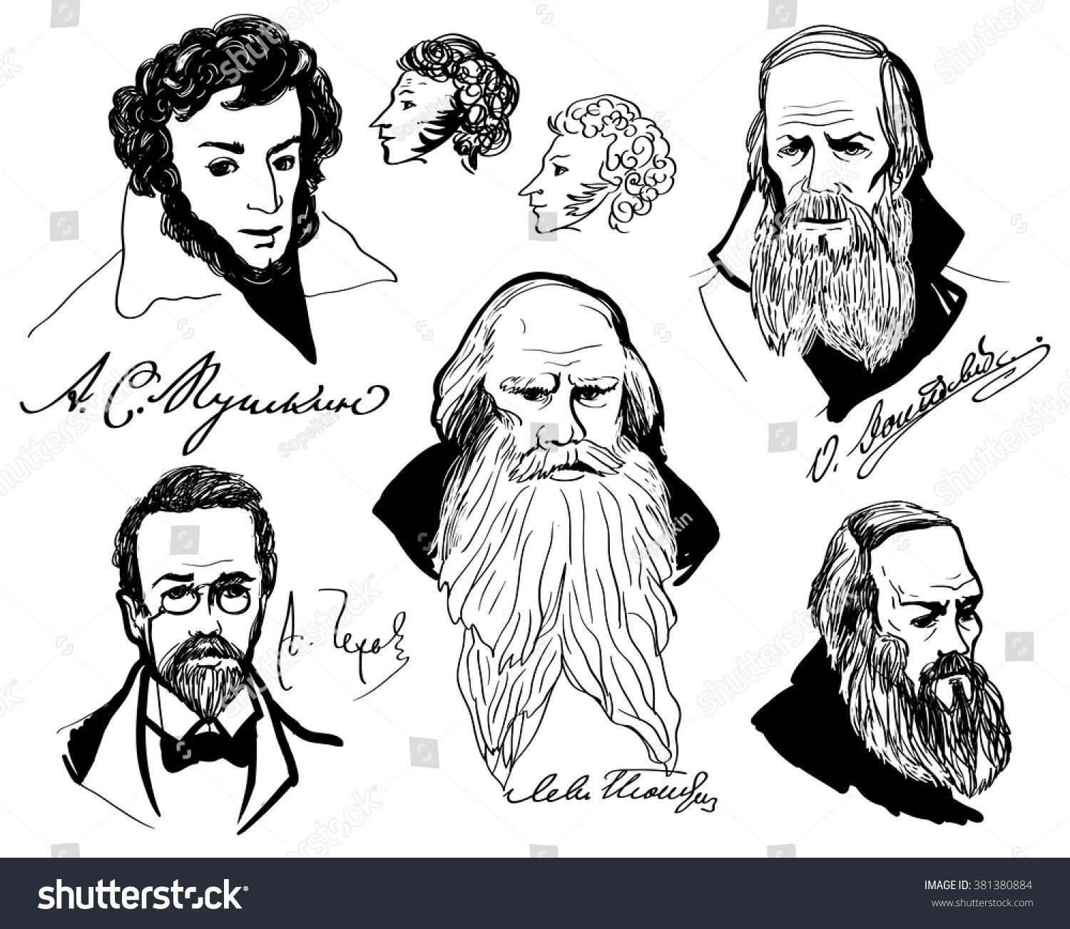 Big set with hand drawing portraits of the great russian writers chekhov alexander pushkin