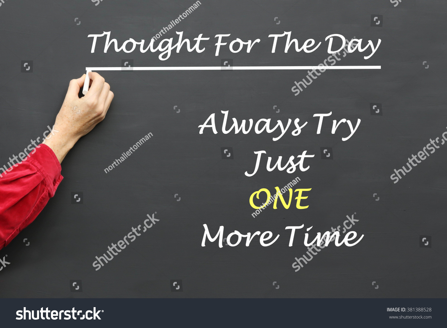 Inspirational Thought For The Day Inspirational Thought Day Message Always Try Stock Photo 381388528