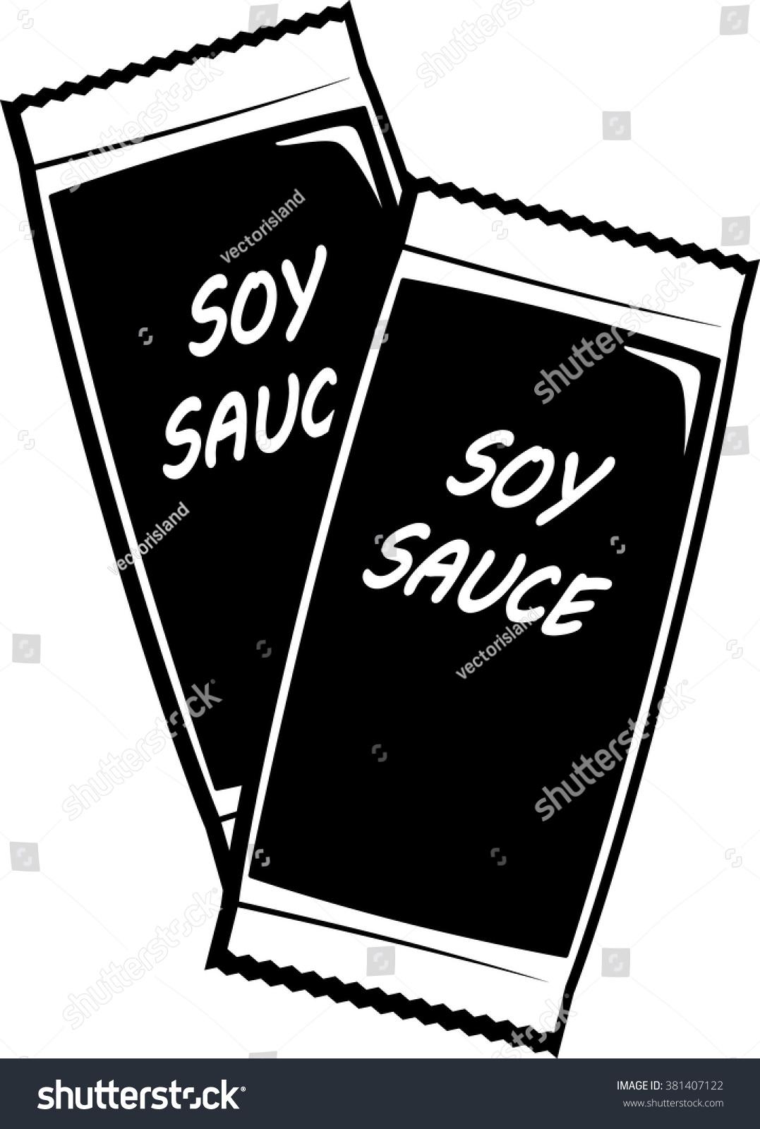 Soy Sauce Sachets Stock Vector Hd Royalty Free 381407122