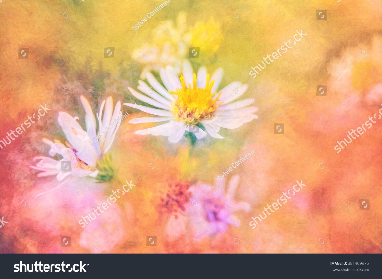 Digital Art Paint Effect Wild Daisies Stock Illustration 381409975
