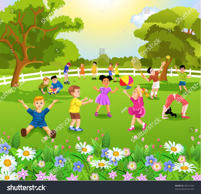 Children Playing Garden Stock Vector 38141434 - Shutterstock