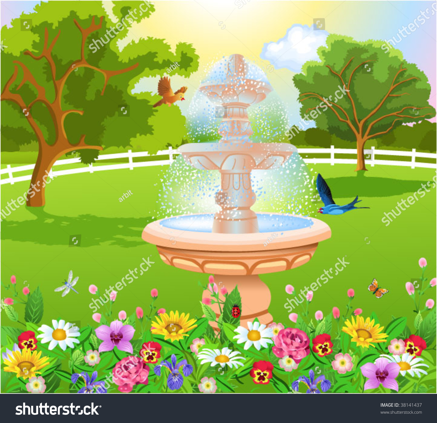 beautiful garden with fountain - Beautiful Garden Pictures