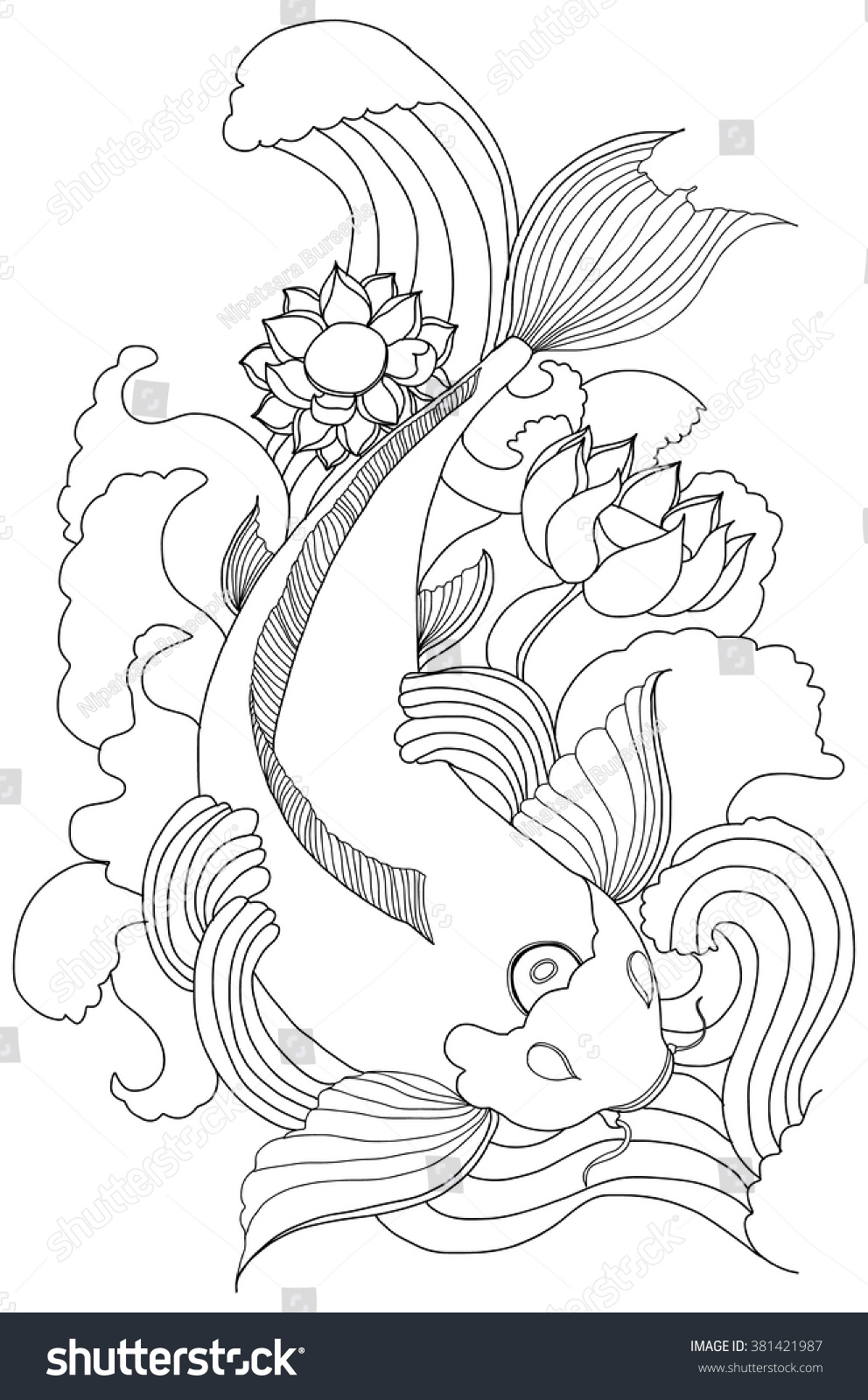 Line Drawing Koi Fish : Hand drawn outline koi fish gold stock vector