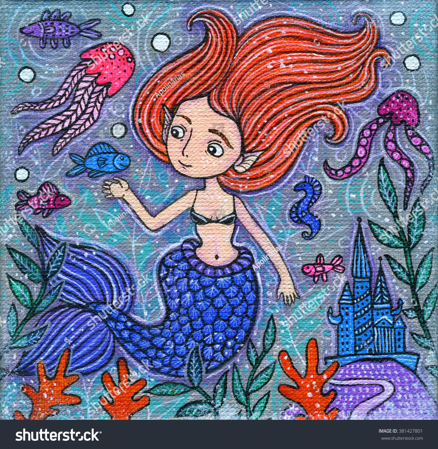 beautiful little mermaid acrylic illustration cute stock