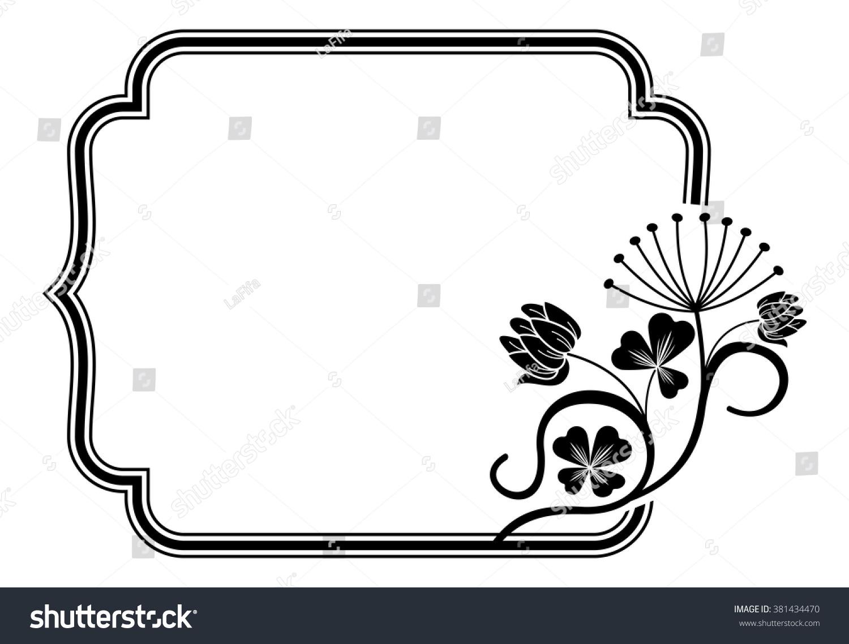 outline frame floral contours stock vector 381434470 shutterstock