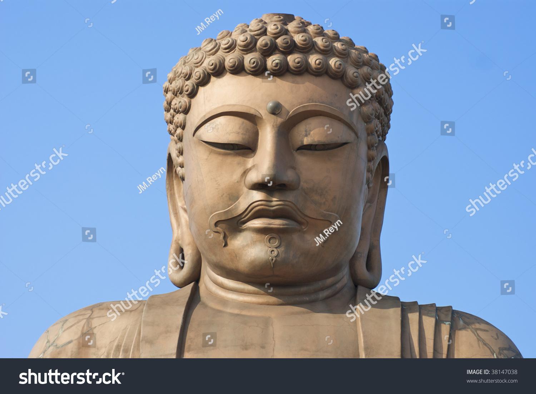 Full Face View Giant Stone Buddha Stock Photo 38147038 ...