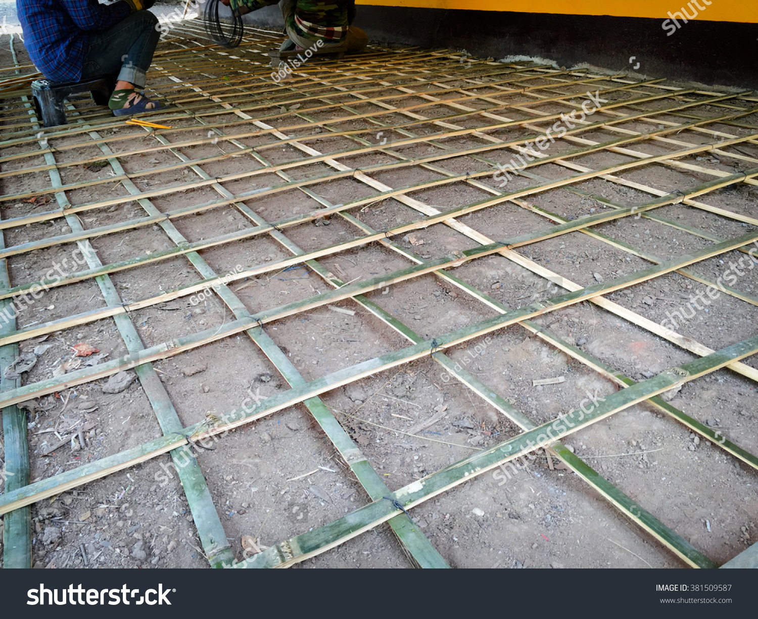 Reinforced Bamboo Cage Concrete Construction Site Buildings Landmarks Stock Image 381509587