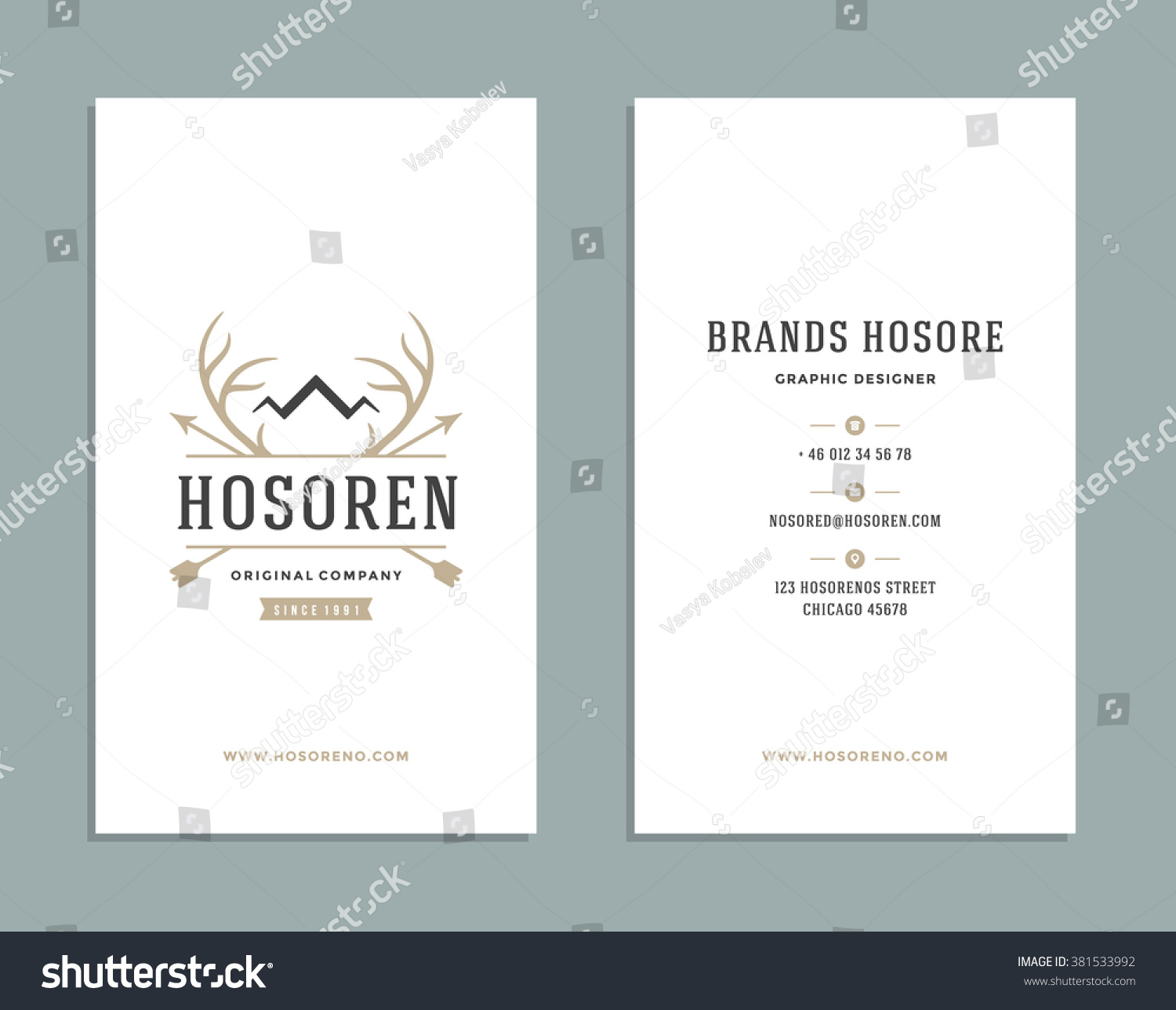 Business Card Design Deer Horns Crown Stock Vector Royalty Free Butchering Diagram And Logo Template Element Vintage Style For