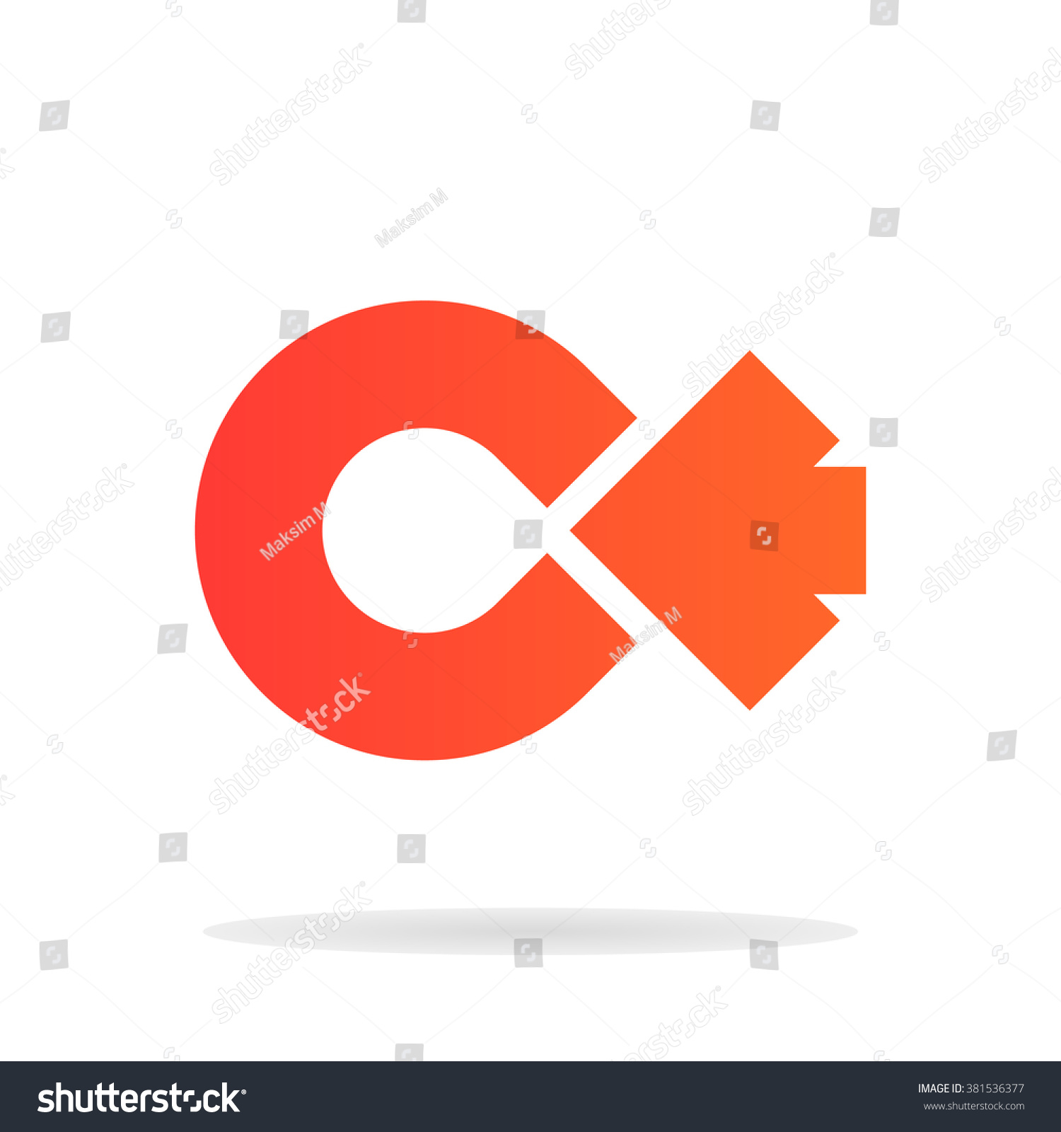 abstract letter c arrow logo templateのイラスト素材 381536377
