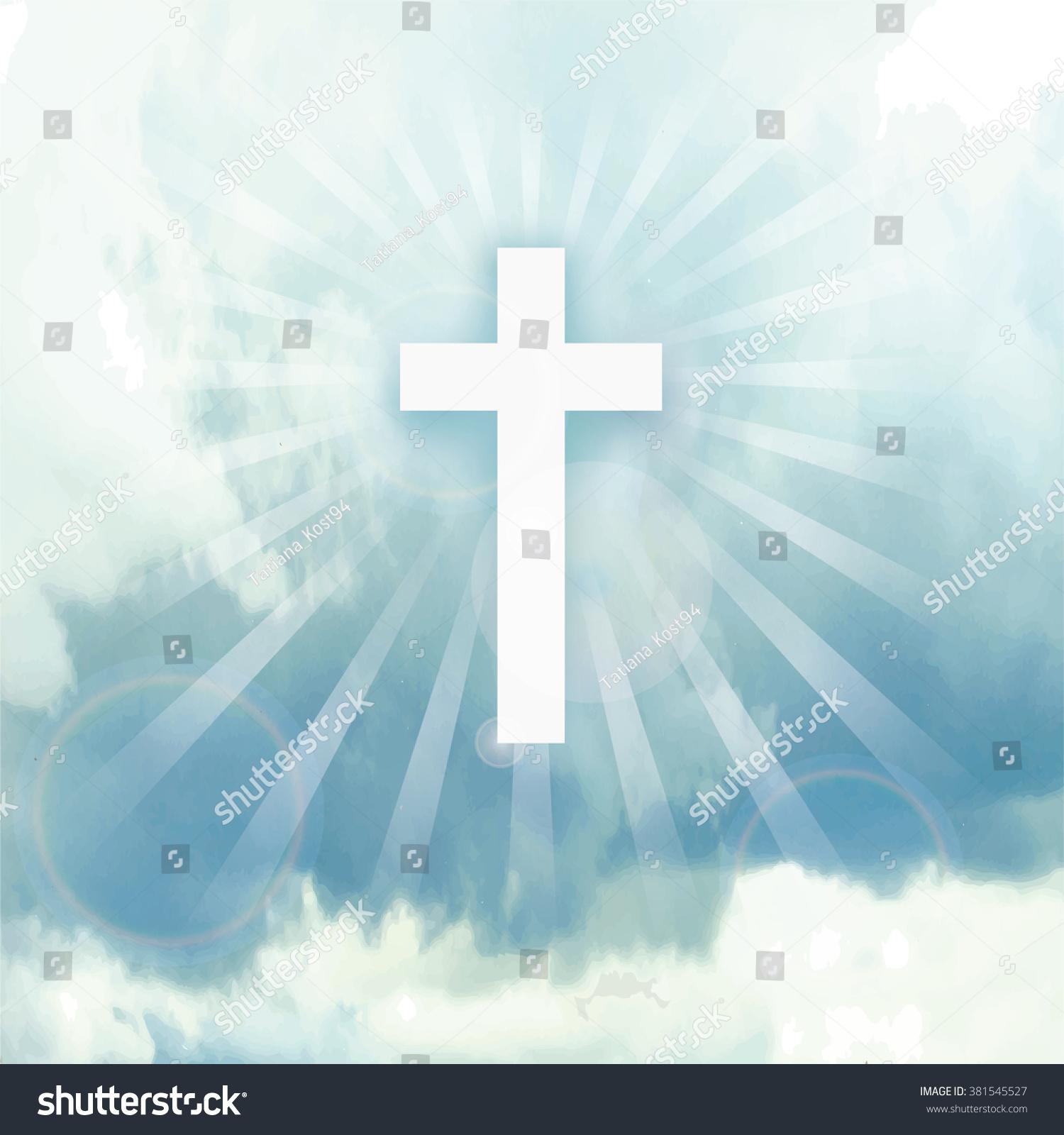 イースター 彼は立ち上がった パラダイス 天国 イースターの背景 青い空 ベクターイラスト 壁紙 青い空 雲 神の日差 十字架 十字架 信仰のシンボル 宗教デザインテンプレート 正方形 のベクター画像素材 ロイヤリティフリー