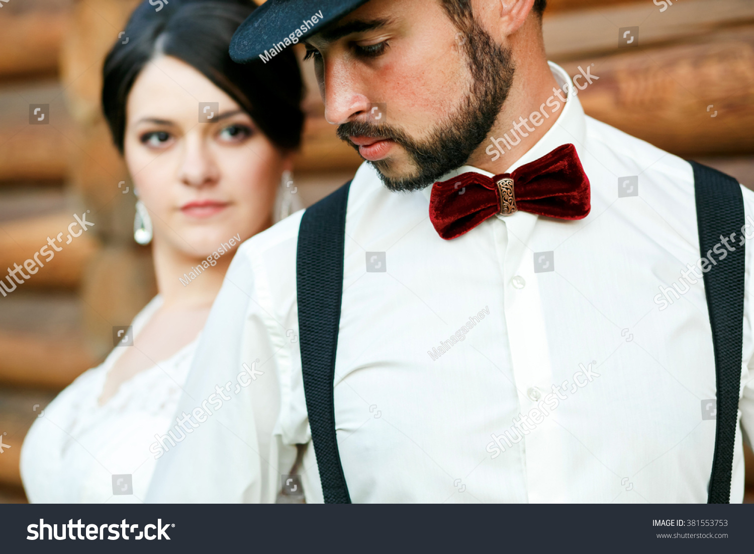 Thoughtful Groom Hat Beard Mustache Bow Stock Photo (Royalty Free ...