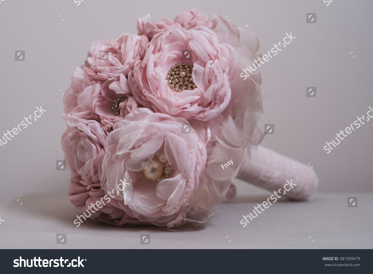 Handmade brooch bouquet fabric wedding bouquet stock photo edit now handmade brooch bouquet fabric wedding bouquet silk flower style cabbage roses with rhinestone and izmirmasajfo