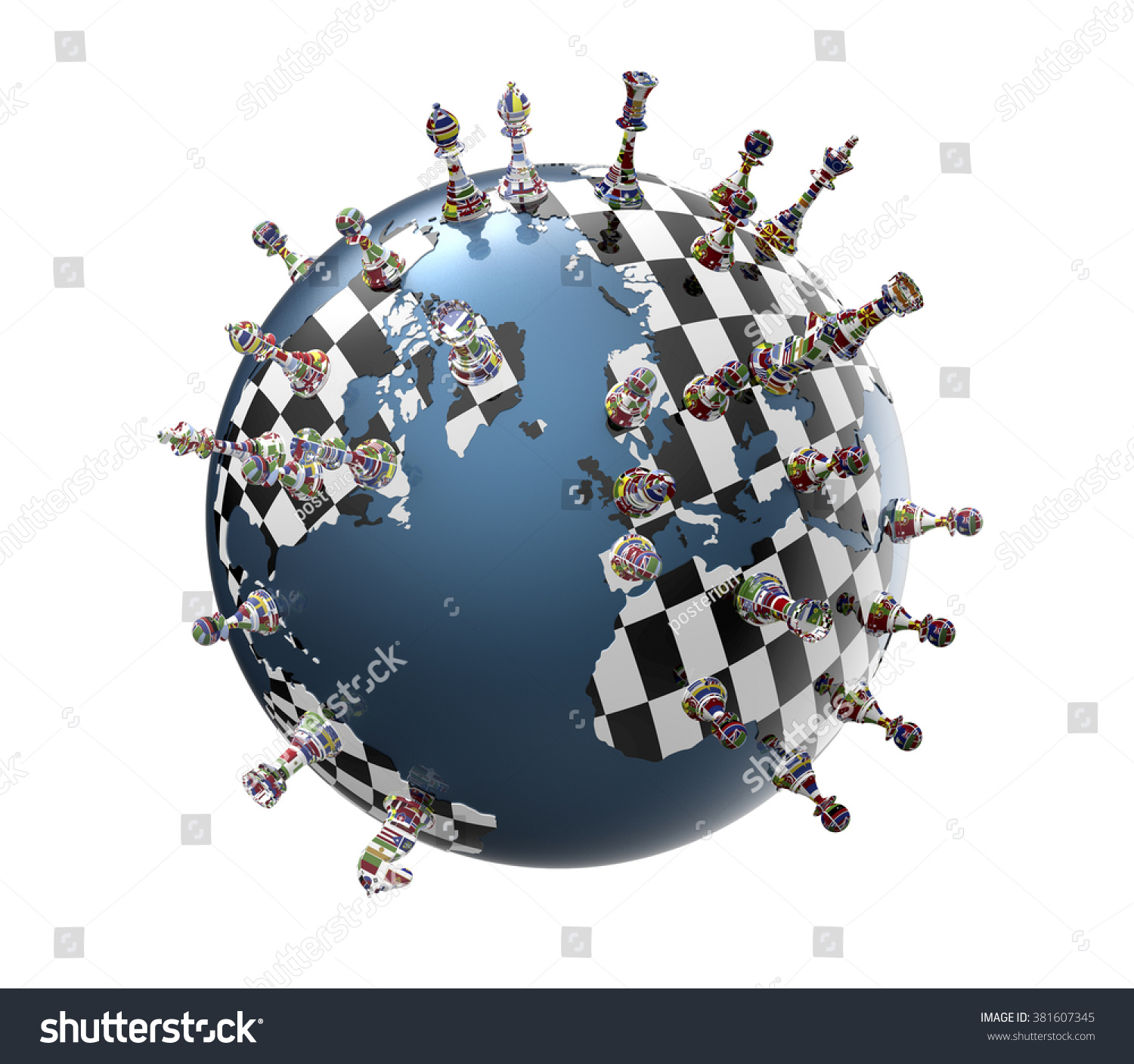 Symbol geopolitics world globe chess pieces stock illustration symbol of geopolitics the world globe with chess pieces biocorpaavc