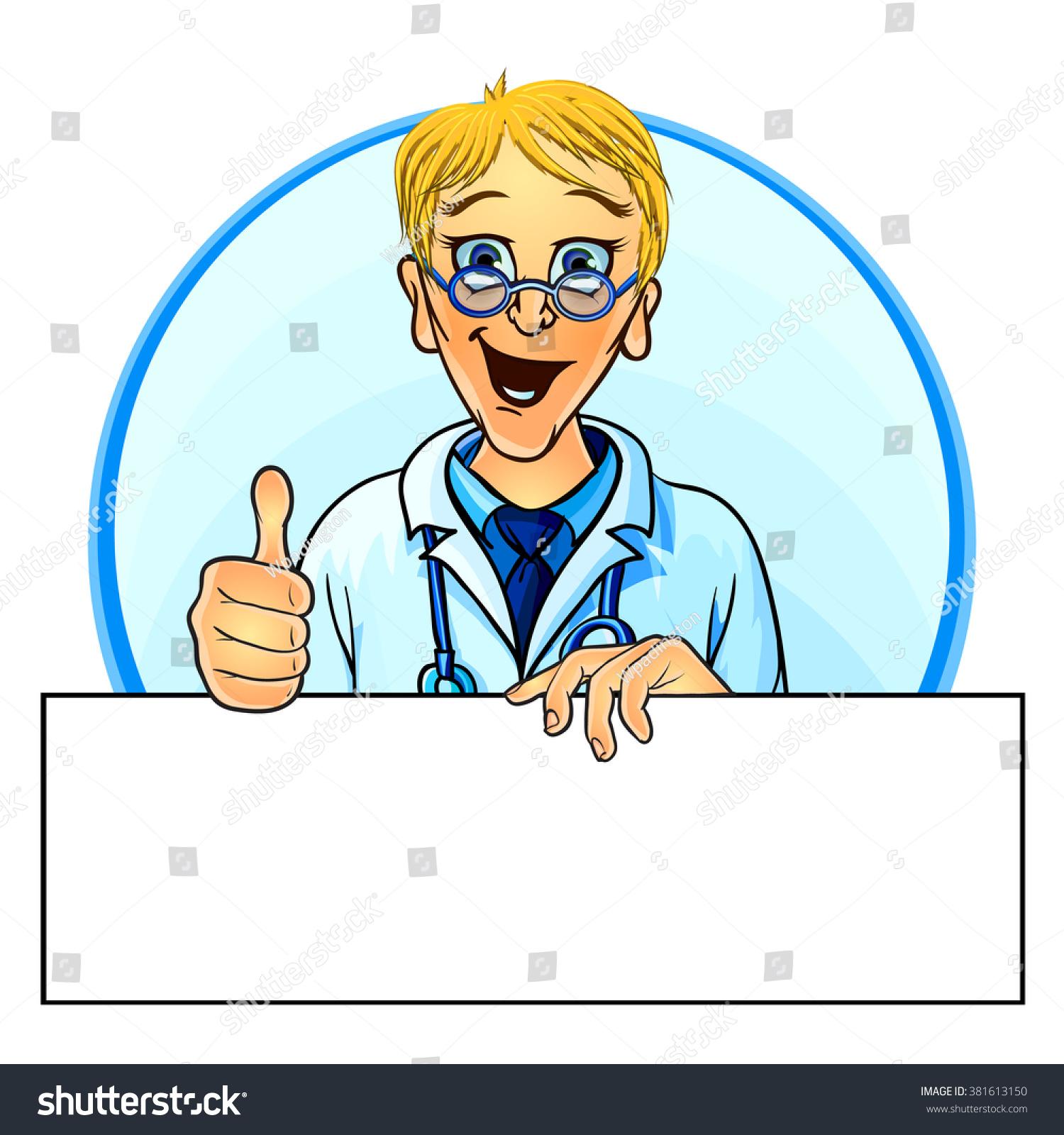 Vector Illustration Smiling Doctor Holding Blank Stock Vector ...