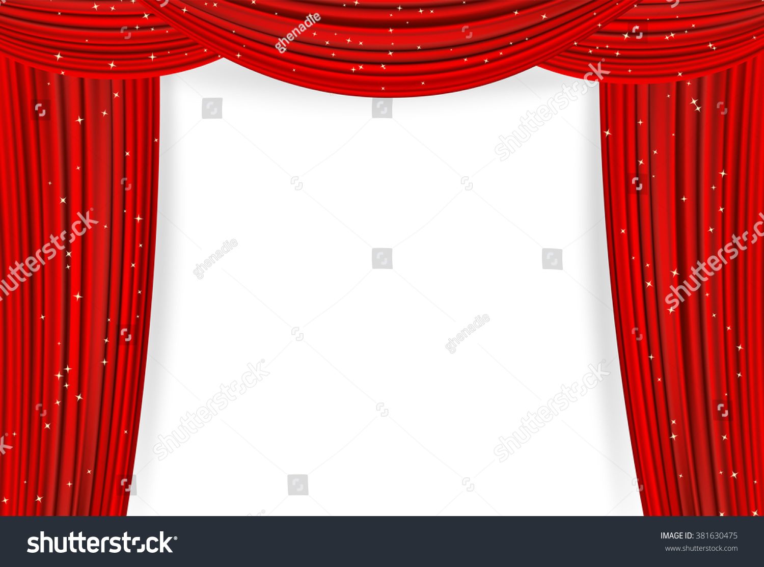 Open Red Curtains Stars On White Stock Vector 381630475 Shutterstock