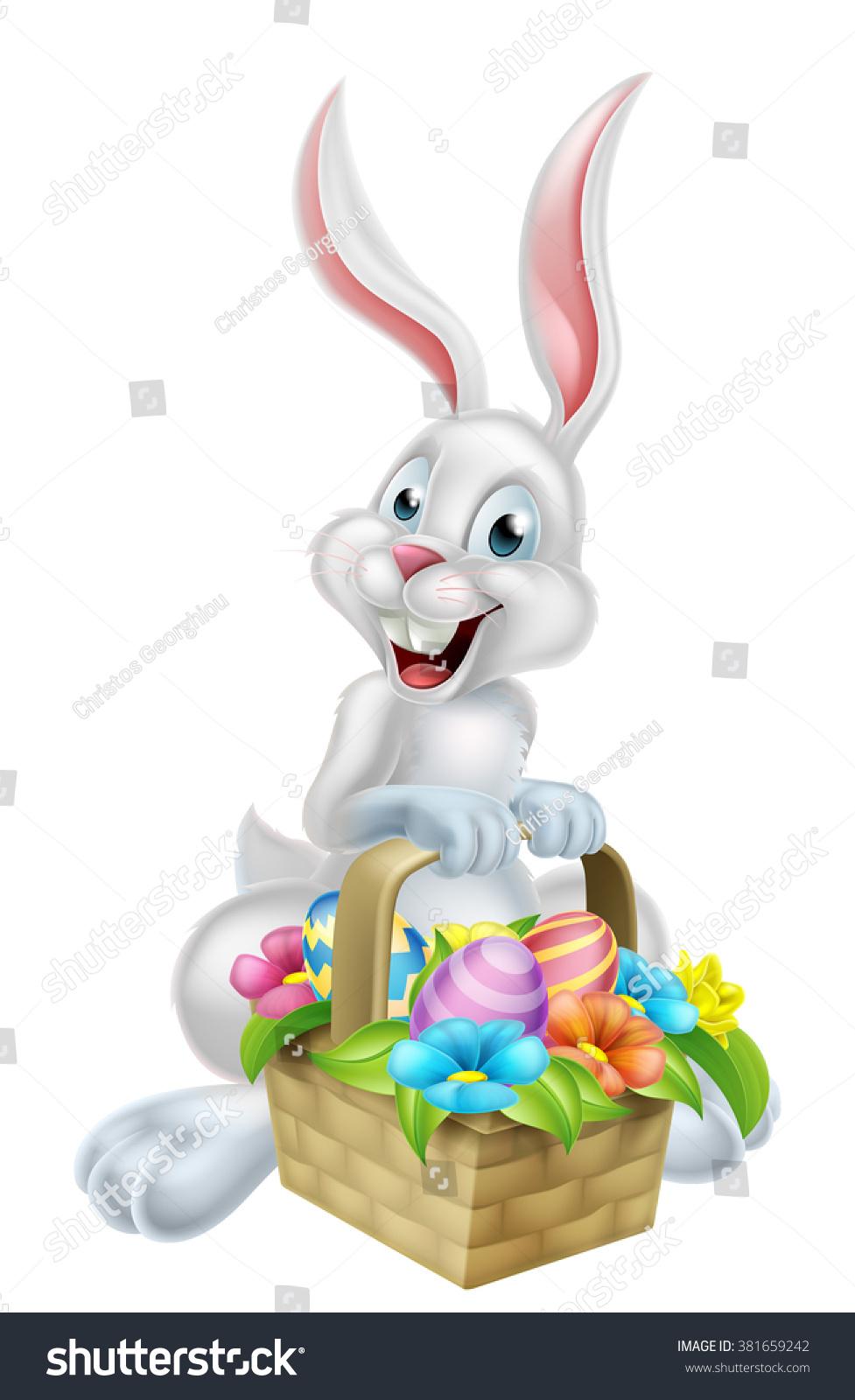 white cartoon easter bunny rabbit mascot stock vector 381659242