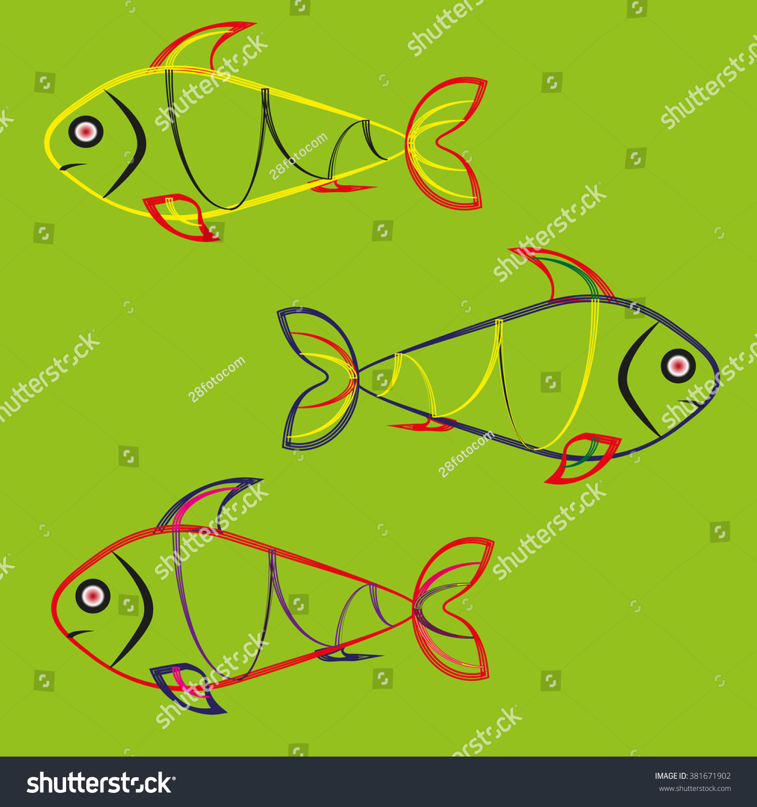 Fish On Green Background Image Three Stock Vector 381671902 ...