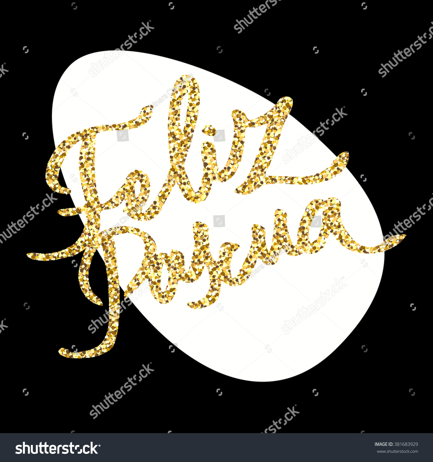 Feliz Pascua Greeting Inscription Happy Easter In Spanish Gold