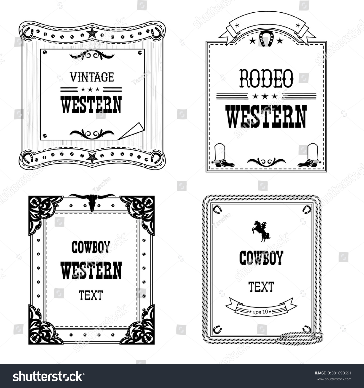Set Labels Frames Western Style Isolated Stock Vector (Royalty Free ...