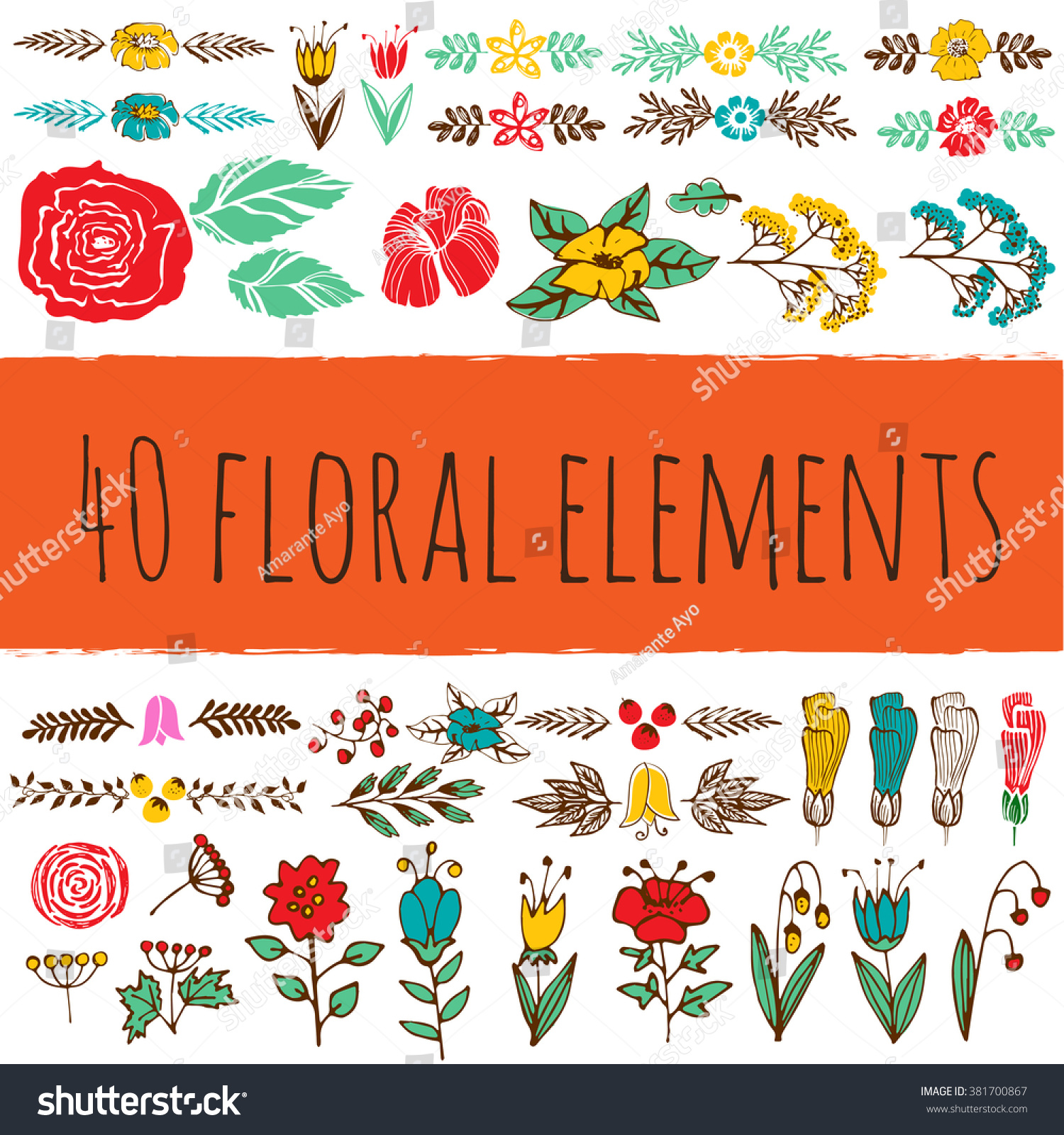 40 Floral Colorful Elements. Use It To Create Banner