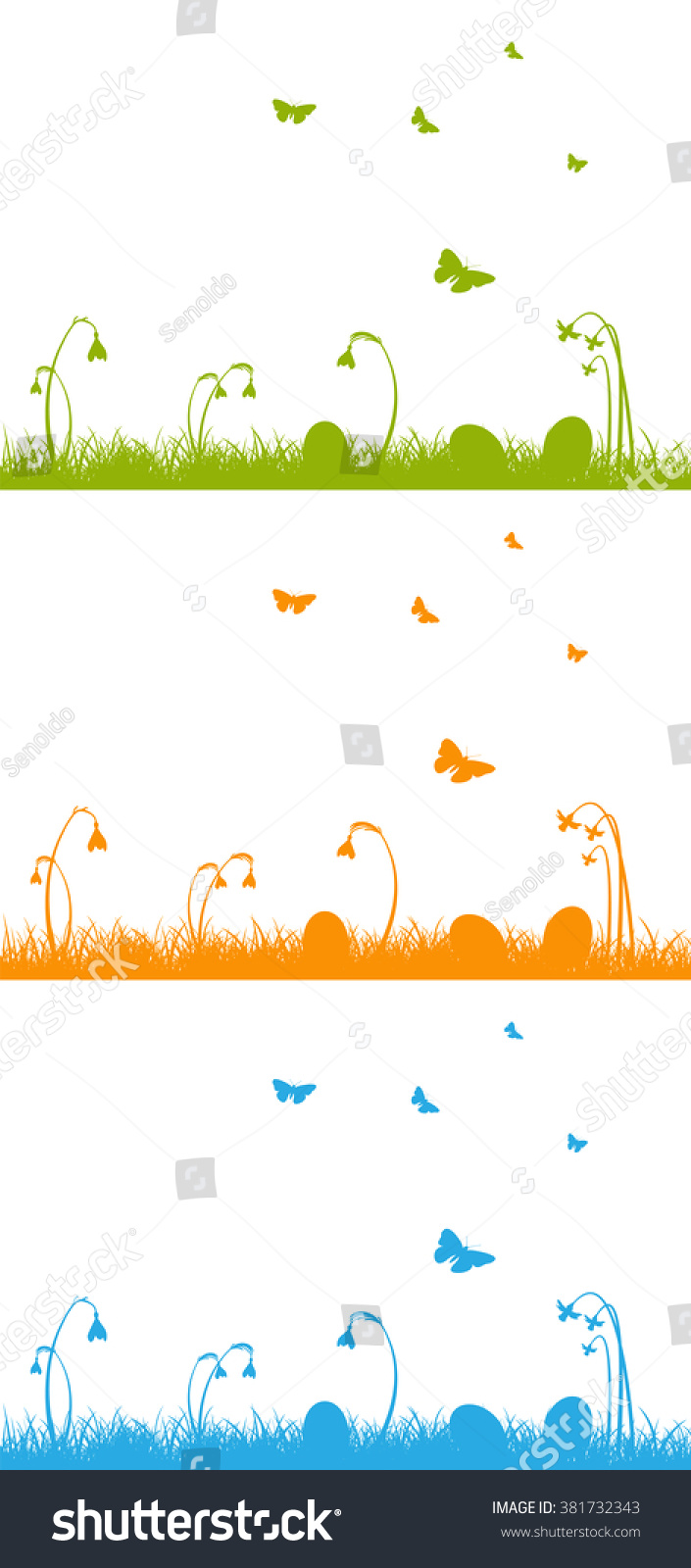 Collection Green Blue Orange Vector Easter Stock Vector Royalty